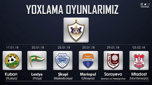 Стали известны все соперники «Карабаха» в Турции